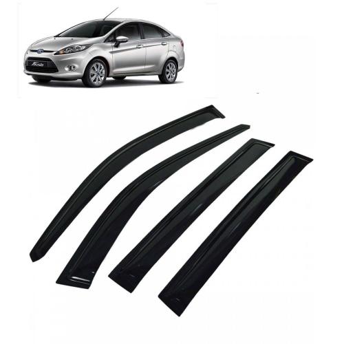 Car Window Door Visor For Ford Fiesta New Set Of 4 (Black)