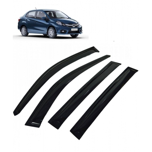 Car Window Door Visor For Honda Amaze Set Of 4 (Black)