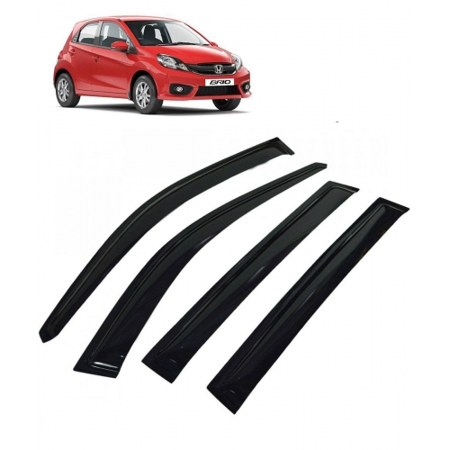 Car Window Door Visor For Honda Brio Set Of 4 (Black)
