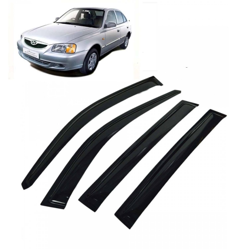 Car Window Door Visor For Hyundai Accent Set Of 4 (Black)