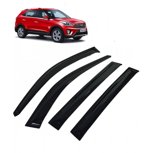 Car Window Door Visor For Hyundai Creta Set Of 4 (Black)