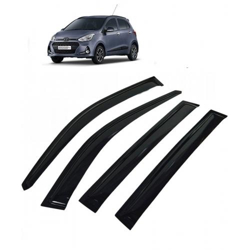 Car Window Door Visor For Hyundai Grand I10 Set Of 4 (Black)