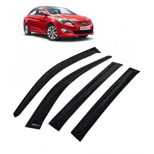 Car Window Door Visor for Hyundai Verna Fluidic Set Of 4 (Black)