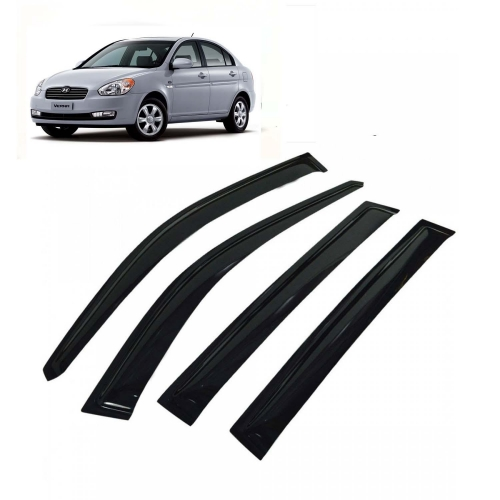 Car Window Door Visor For Hyundai Verna Old Set Of 4 (Black)