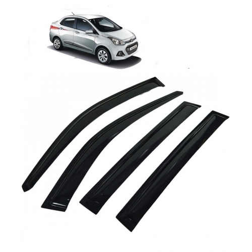 Car Window Door Visor For Hyundai Xcent Set Of 4 (Black)