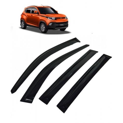Car Window Door Visor For Mahindra KUV 100 Set Of 4 (Black)
