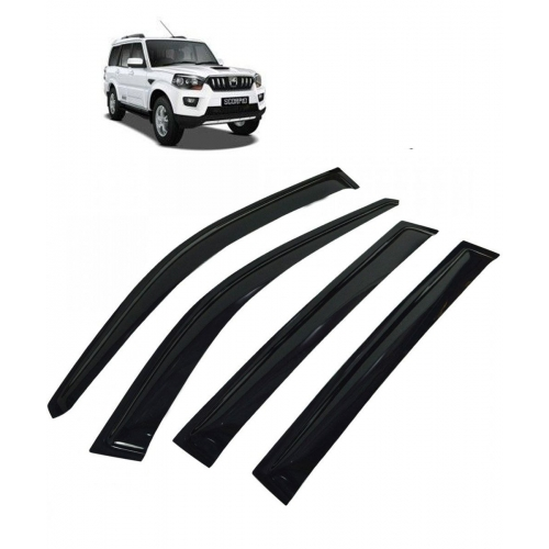 Car Window Door Visor For Mahindra Scorpio New Set Of 6 (Black)