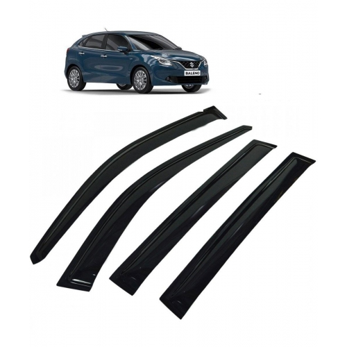 Car Window Door Visor For Maruti Suzuki Baleno New Set Of 4 (Black)