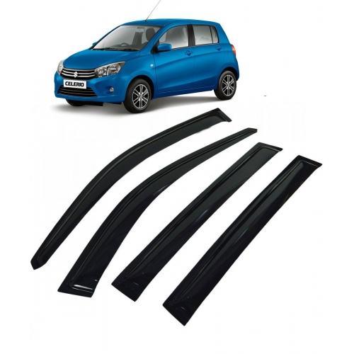 Car Window Door Visor For Maruti Suzuki Celerio Set Of 4 (Black)