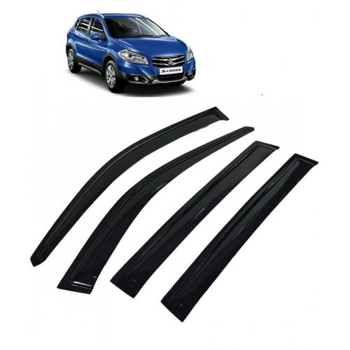 Car Window Door Visor For Maruti Suzuki S Cross Set Of 4 (Black)