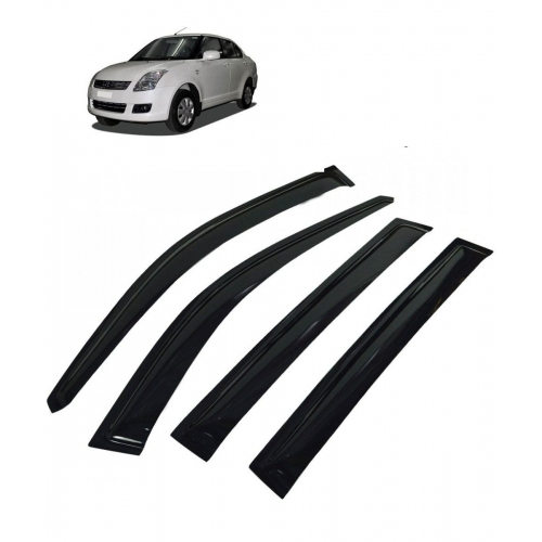 Car Window Door Visor For Maruti Suzuki Swift Dzire Old Set Of 4 (Black)