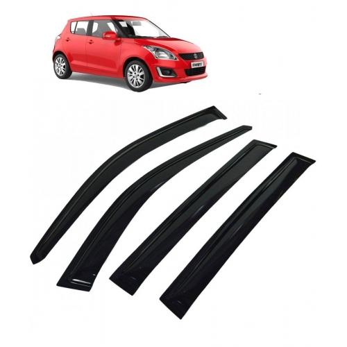 Car Window Door Visor For Maruti Suzuki Swift New Set Of 4 (Black)
