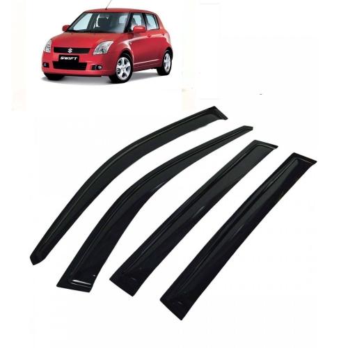 Car Window Door Visor For Maruti Suzuki Swift Old Set Of 4 (Black)