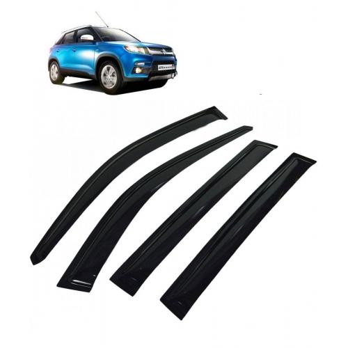 Car Window Door Visor For Maruti Suzuki Vitara Brezza Set Of 4 (Black)
