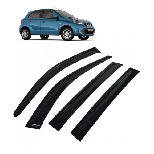 Car Window Door Visor For Nissan Micra Set Of 4 (Black)