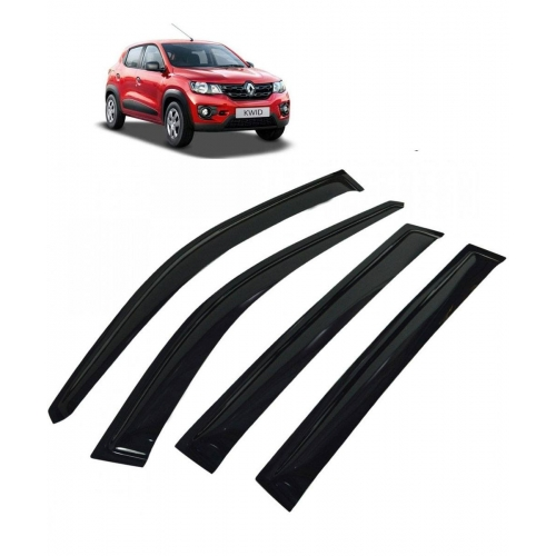 Car Window Door Visor For Renault Kwid Set Of 4 (Black)