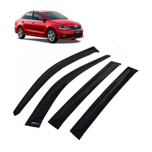 Car Window Door Visor For Skoda Rapid Set Of 4 (Black)