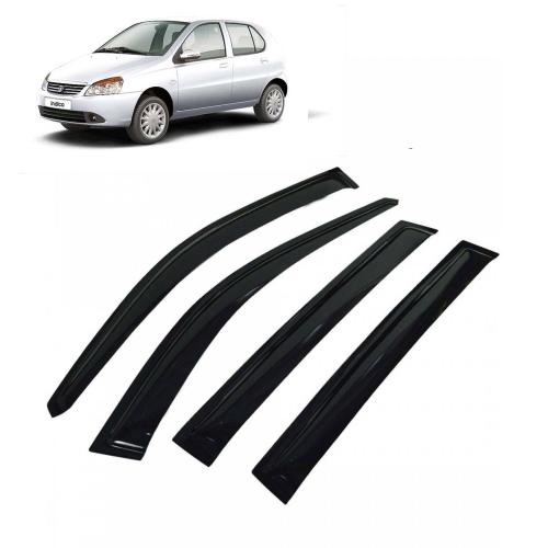 Car Window Door Visor For Tata Indica Set Of 4 (Black)