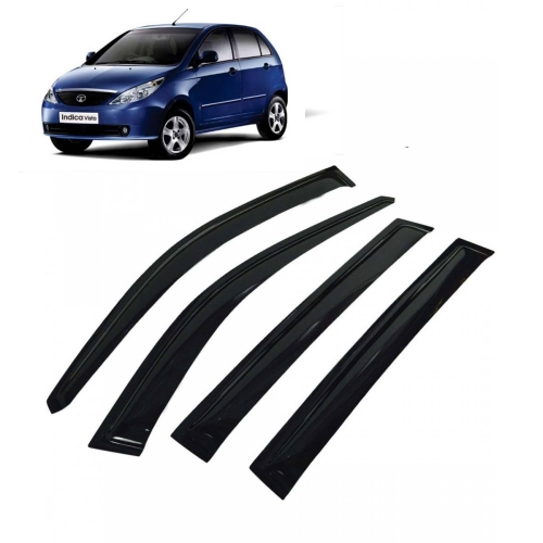 Car Window Door Visor For Tata Indica Vista Set Of 4 (Black)