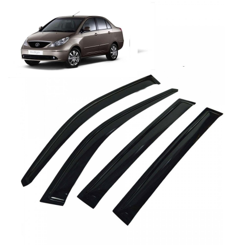 Car Window Door Visor For Tata Indigo Manza Set Of 4 (Black)