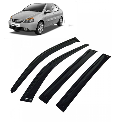 Car Window Door Visor For Tata Indigo Set Of 4 (Black)