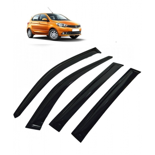 Car Window Door Visor For Tata Tiago Set Of 4 (Black)
