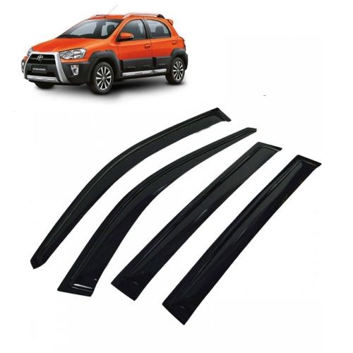 Car Window Door Visor For Toyota Etios Cross Set Of 4 (Black)