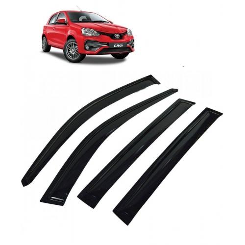 Car Window Door Visor For Toyota Etios Liva Set Of 4 (Black)