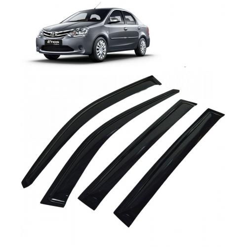 Car Window Door Visor For Toyota Etios Set Of 4 (Black)