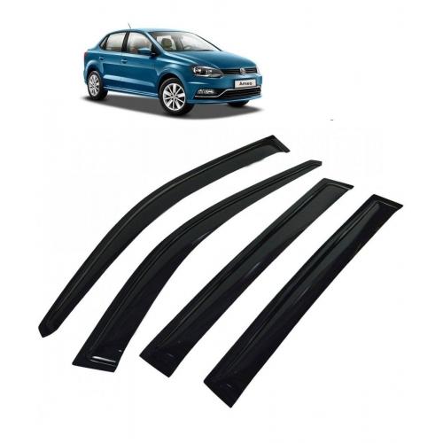 Car Window Door Visor For Volkswagen Ameo Set Of 4 (Black)