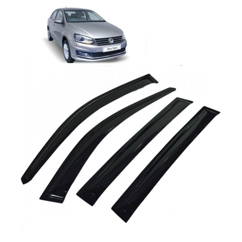 Car Window Door Visor For Volkswagen Vento Set Of 4 (Black)