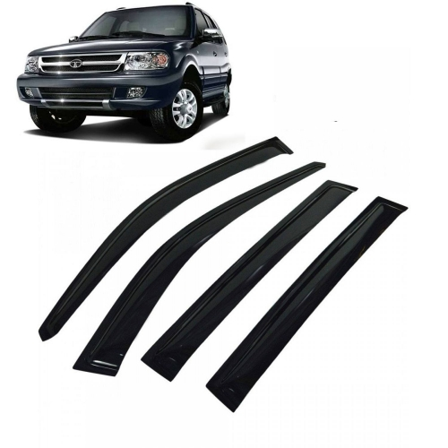 Car Window Door Visor For Tata Safari Dicor Set Of 6 (Black)