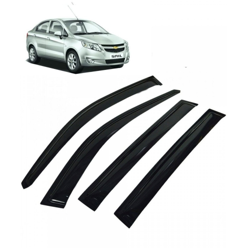 Car Window Door Visor For Chevrolet Sail Sedan Set Of 4 (Black)