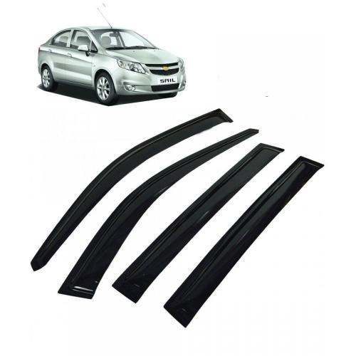 Car Window Door Visor For Chevrolet Sail Sedan Set Of 4 (Black)