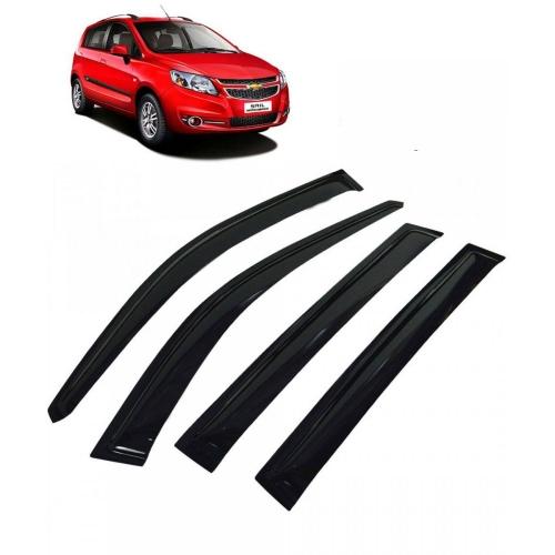 Car Window Door Visor For Chevrolet Sail Hatchback Set Of 4 (Black)