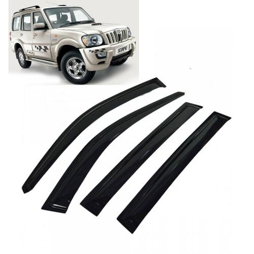 Car Window Door Visor For Mahindra Scorpio Old Set Of 6 (Black)