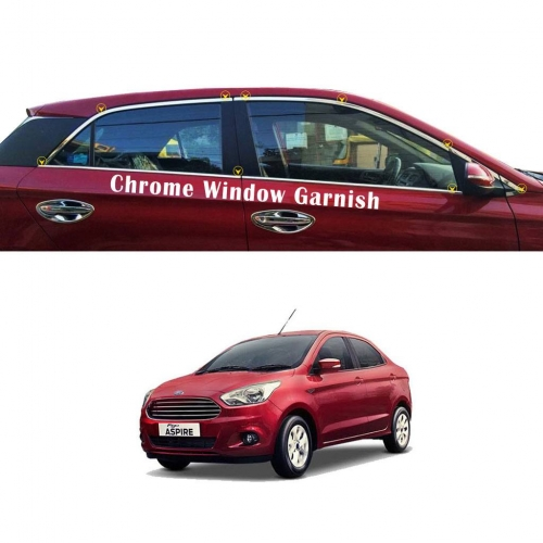 Ford Figo Aspire Lower Window Chrome Garnish Trims (Set of 4Pcs.)