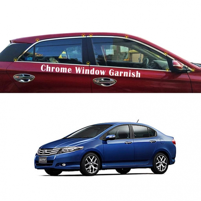 Honda City I vtech 2009 Full Window Chrome Garnish Trims