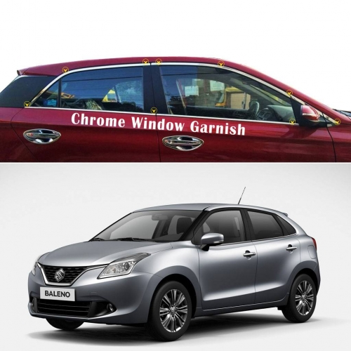 Car Full Window Chrome Garnish Trims For Maruti Suzuki New Baleno