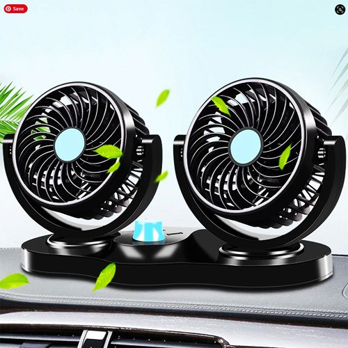 12V All Round Adjustable 360 Degree Rotatable Low Noise Dual Head Car Dashboard Air Cooler Fan By Carhatke