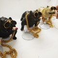 Original Imported Pitbull Bully Smoking Dog with Chain for Car Dashboard /Home and Office