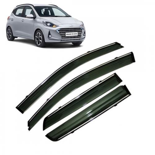 Car Window Door Visor With Chrome Line For Hyundai Grand i10 Nios
