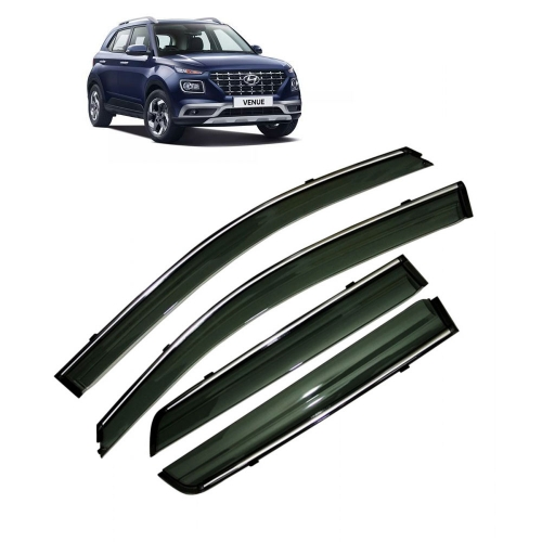 Car Window Door Visor With Chrome Line For Hyundai Venue (Imported)