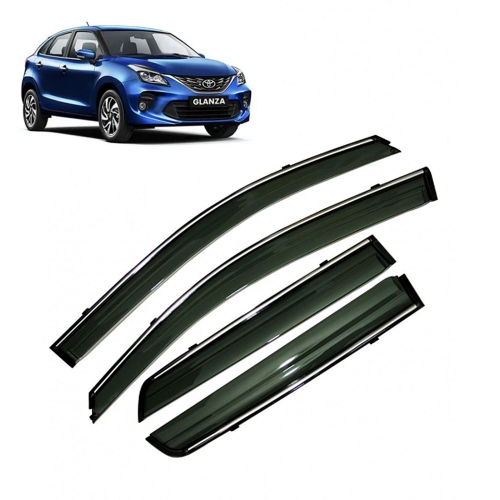 Car Window Door Visor With Chrome Line For Toyota Glanza (Imported)