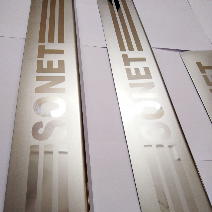 Kia Sonet Stainless Steel Door Scuff Foot Sill Plate Guards (Set of 4 Pcs.)
