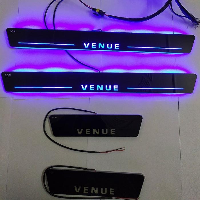 Car Door LED Matrix Moving Light Scuff Sill Plate Guards for Hyundai Venue (Set of 4Pcs.)