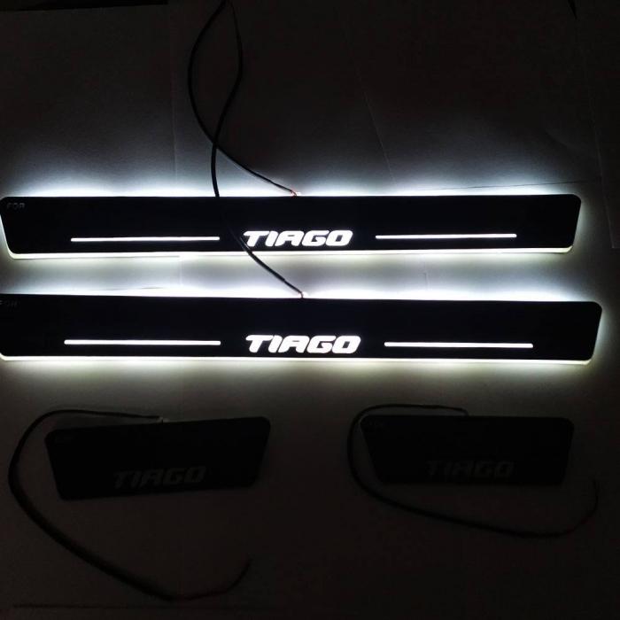 Car Door LED Light Scuff Sill Plate Guards for Tata Tiago Matrix Moving Light (Set of 4 Pcs.)
