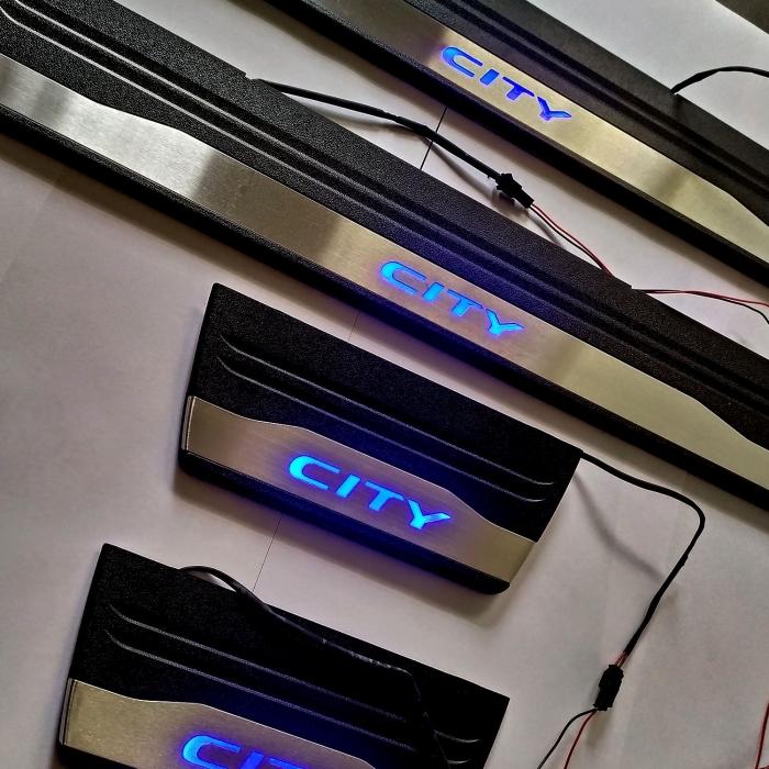 Honda City Idtech OEM Led Scuff Door Side Sill Plates (Set of 4 Pcs.)