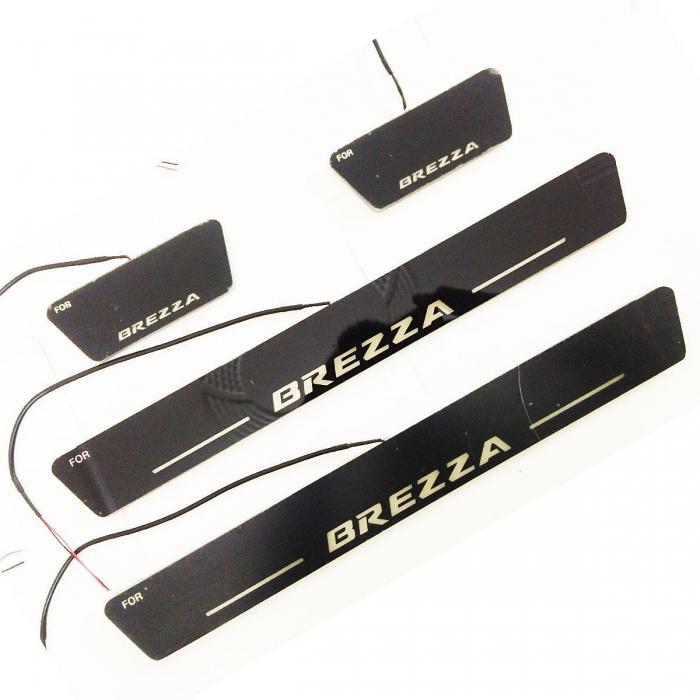 Matrix Moving LED Light Scuff Sill Plate Guards for Maruti Suzuki Vitara Brezza (Set of 4Pcs.)