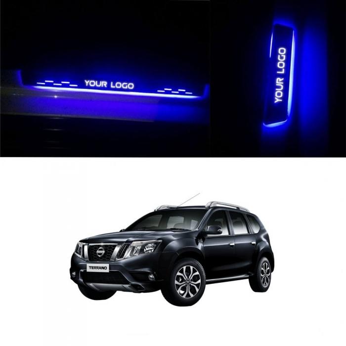 Nissan Terrano Door Foot LED Mirror Finish Black Glossy Scuff Sill Plate Guards (Set of 4Pcs.)